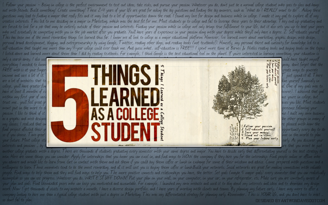 5 Things I Learned as a College Student   Antwon Davis